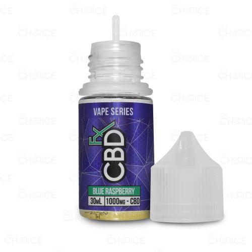 A bottle of CBDfx Blue Raspberry CBD Vape Juice, 30ml 1000mg