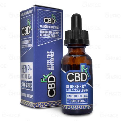A bottle of CBDfx Blueberry Pineapple Lemon CBD Oil, 30ml 1500mg