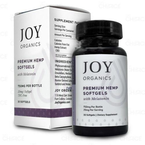 Joy Organics Premium Hemp Softgels with Melatonin 30 count