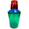 Plastic Cocktail Shaker , Red Lid,  Blue Strainer, Green Cup