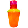 Plastic Cocktail Shaker, Pink Lid, Yellow Strainer, Orange Cup