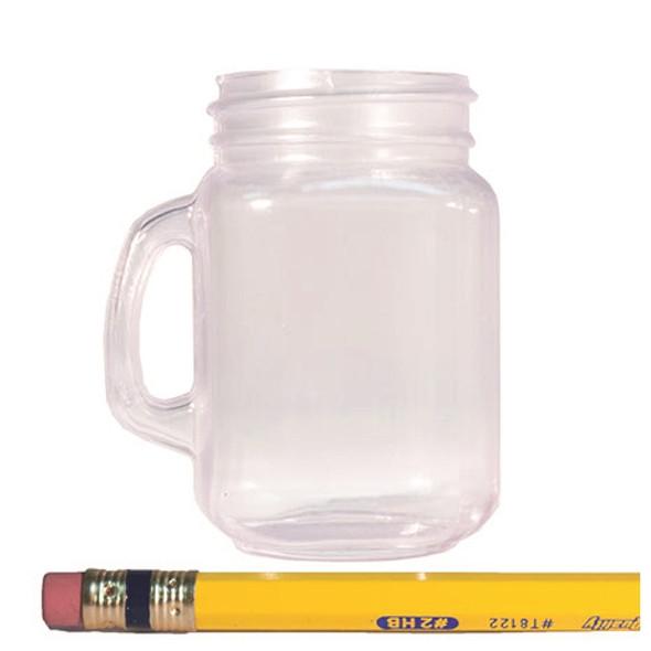 2 oz Plastic Mason Jar Shotglass Blank Pencil for Scale