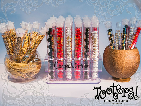 Tooters Test Tube Wedding Favors, Plastic Rack, Natural Coconut