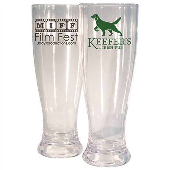 2 Plastic Pilsner Glass Custom Printed
