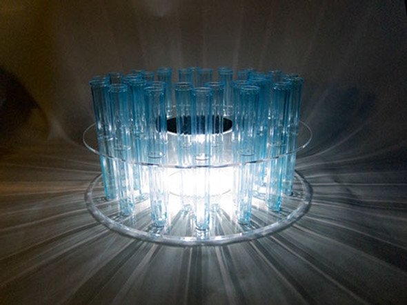 32 Hole Lighted Shot Tube Rack in the Dark Lighted