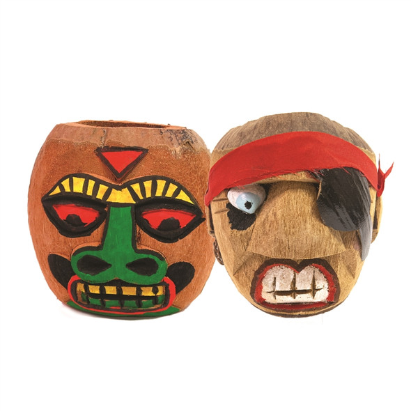 Carved Coconut Cup Tiki and Pirate