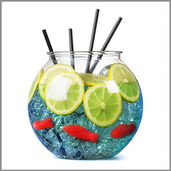 1.45 Gallon Cocktail Drink Filled with Liquor, Lemons, and Sweetish Fish