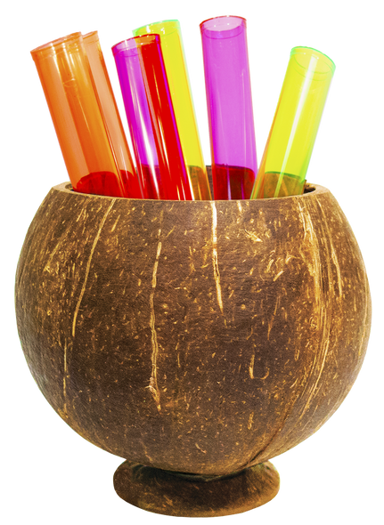 Coconut Cup Holder with Test Tubes