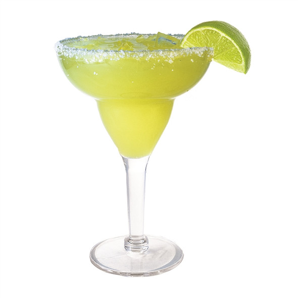 Acrylic Margarita Glass 12 oz Filled with Lime
