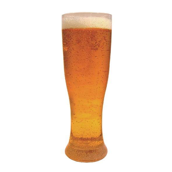 Plastic Pilsner Glass 22 oz filled with Beer