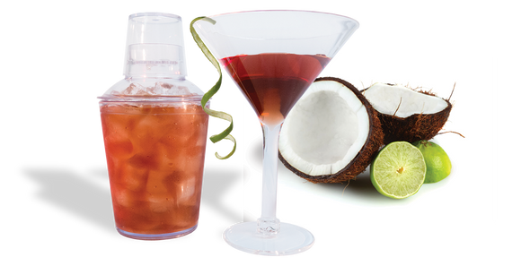 18oz Plastic Cocktail Shaker Set with a Martini and a Coconut
