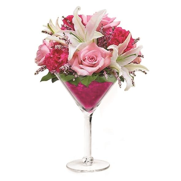 Acrylic Martini Glass with Flowers