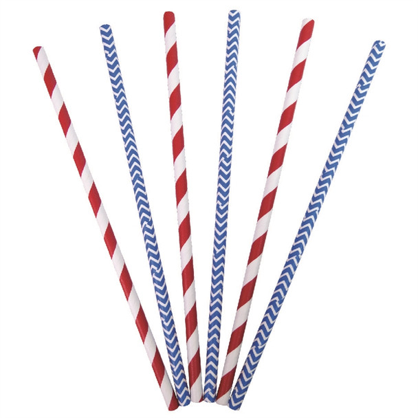 Paper Straws 7.75 inch Blue And Red