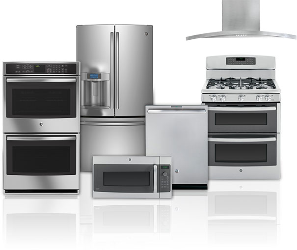 Appliances of different types including a refrigerator, dishwasher, stove, oven and microwave.