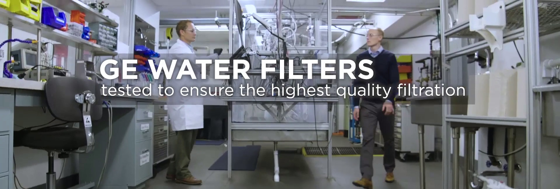 Two men in GE Appliances Water Filtration Lab