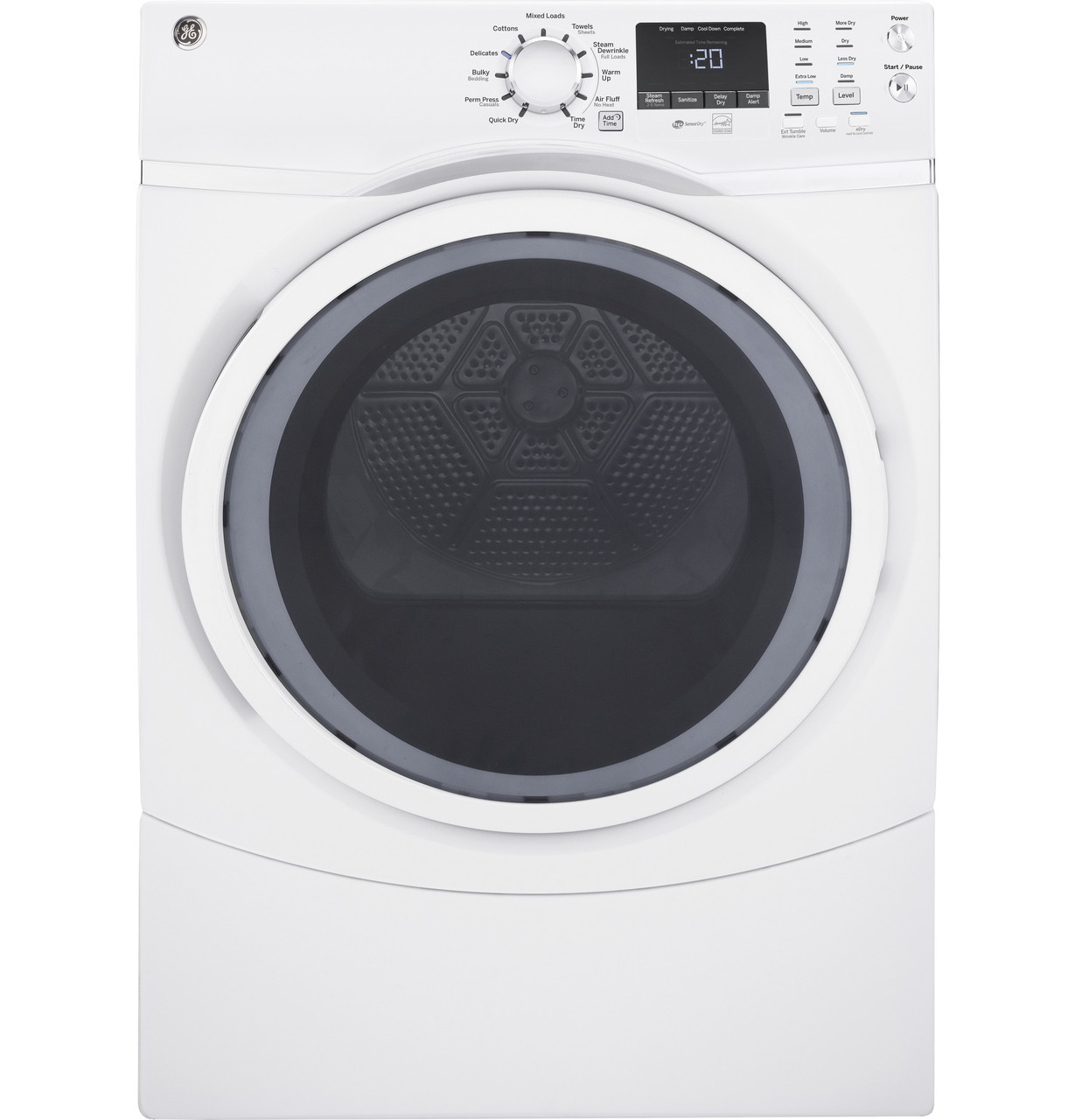 Ge 7 5 Cu Ft Capacity Front Load Electric Dryer With Steam Gfd45essmww Ge Appliances