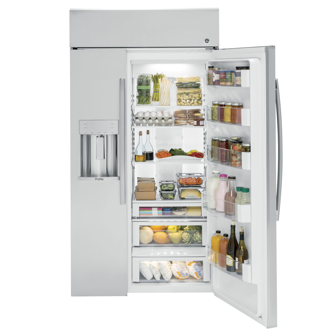 Ge Profile Series 42 Built In Side By Side Refrigerator With Dispenser Psb42yskss Ge Appliances