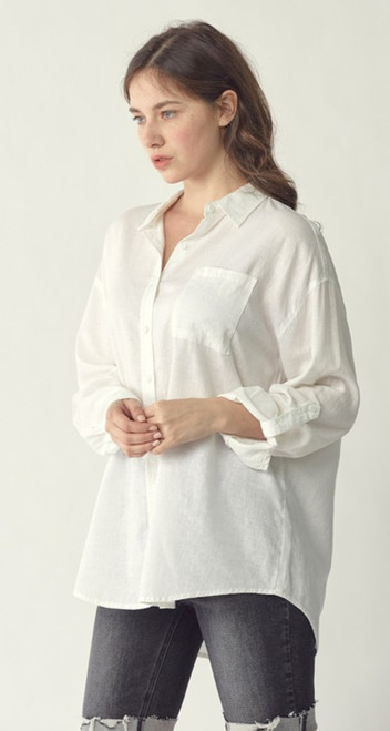 Oversized White Linen Blouse