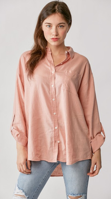 Relaxed Fit Blush Linen Top