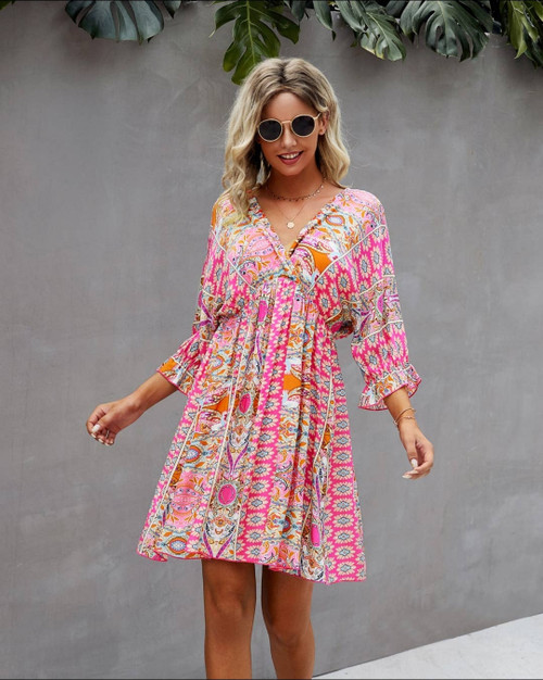 Rayon Floral Dress with 3/4 sleeve