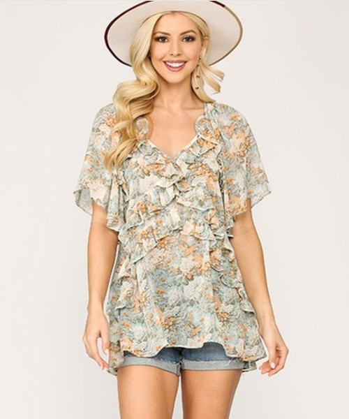 Floral Ruffle Tiered Short Sleeve Top