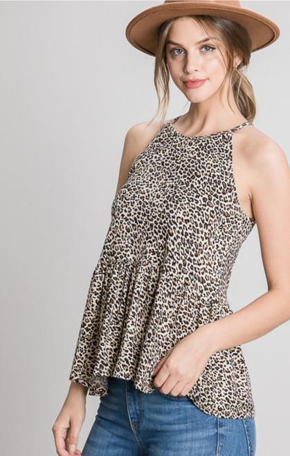 Taupe Leopard Peplum Sleeveless Top