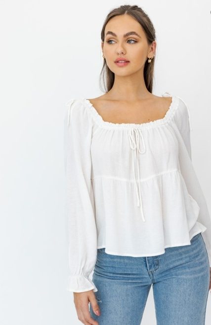Long Sleeve Drawstring Detail Flared Top (White)