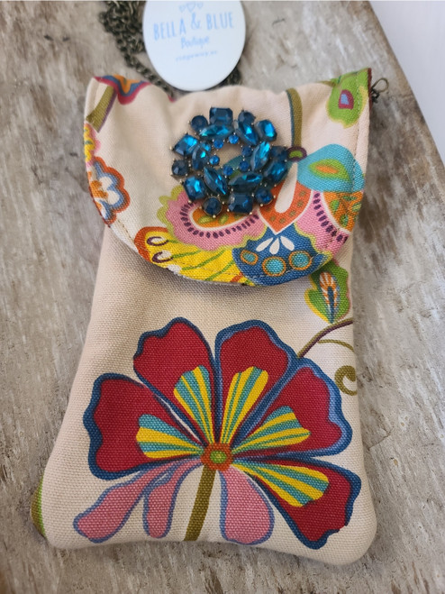 Gypsy South (phone purse) with blue pin.
