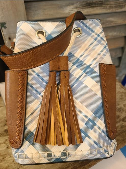 Bucket Bag (Blue & Tan Plaid)