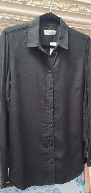 Classic Fit Linen Buttondown Top Black