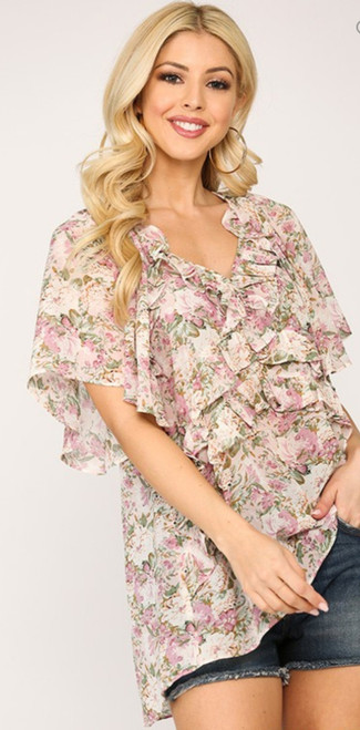 Floral Ruffle Tiered Short Sleeve Top (pink)