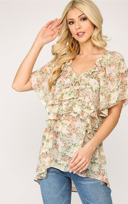 Floral Ruffle Tiered Short Sleeve Top (cream)