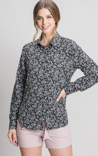 Black  Floral Ditsy Hidden Button Dress Shirt
