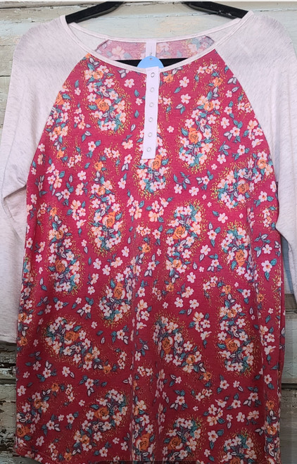 Red Floral Top with bseball sleeve and button front
