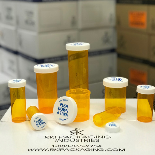 Amber Push & Turn Family Vials / Bottles