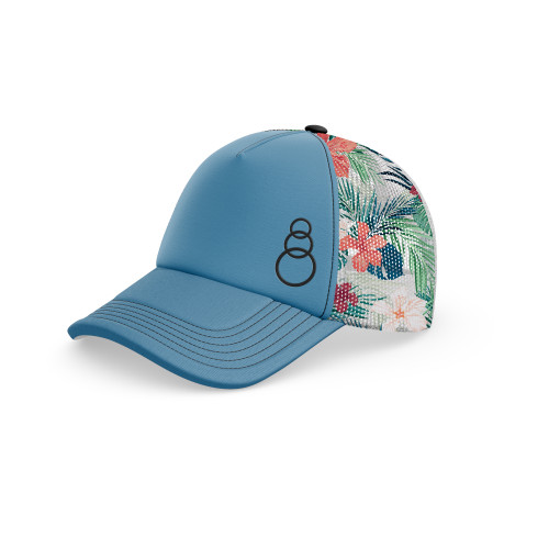 Tropical Printed Mesh 3 Ring Hat - Curved Bill