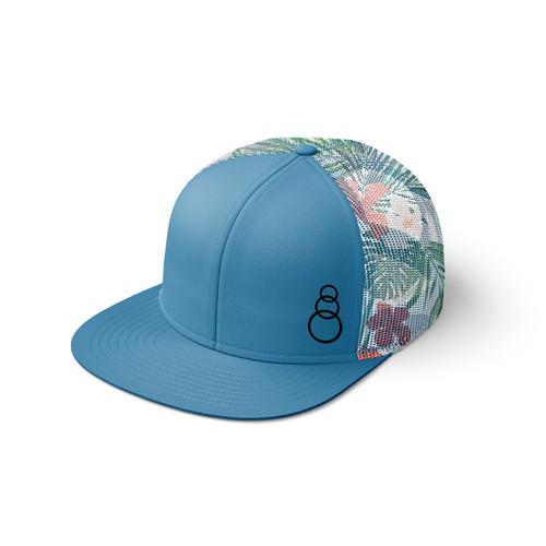 Tropical Printed Mesh 3 Ring Hat - Flat Bill