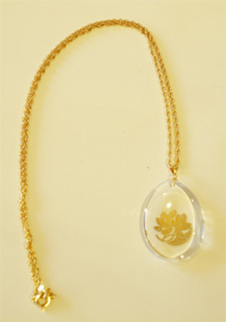 Necklace - Crystal Pendant with Lotus
