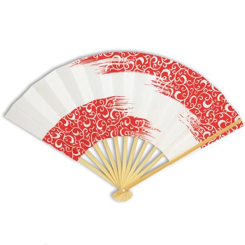 Folding Fan - Red/White Pattern