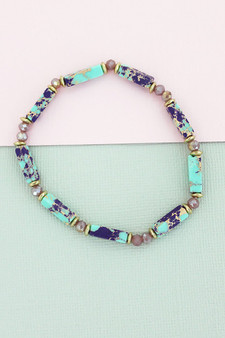 PURPLE MARBLED BLOCK AND FACETED BEAD STRETCH BRACELET