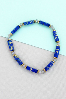 BLUE MARBLED BLOCK AND FACETED BEAD STRETCH BRACELET