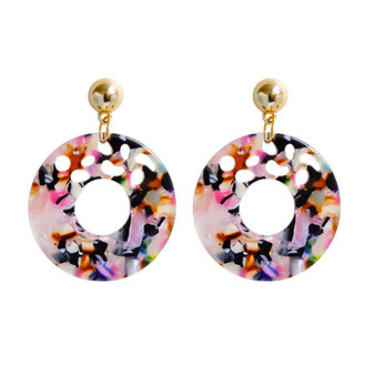 Round Hollow Resin Earrings
