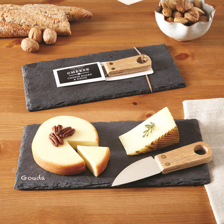 Two's Company The Big Cheese Slate Cheese Board with Knife and Chalk, being used.