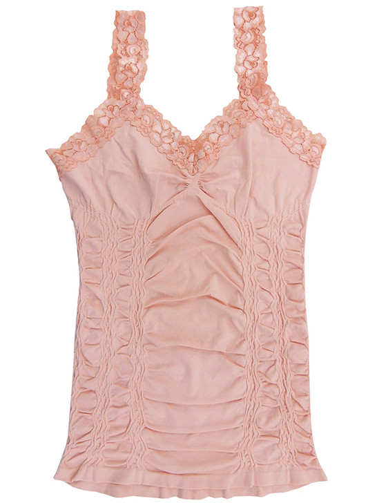 Yahada Seamless Lace Trimmed Cinched Cami, Dusty Pink