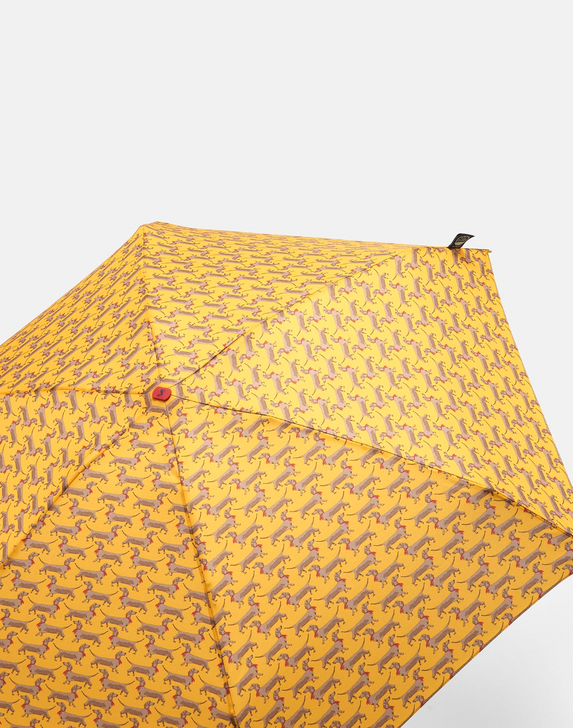 Joules Fulton Sausage Dogs Tiny Compact Umbrella, open