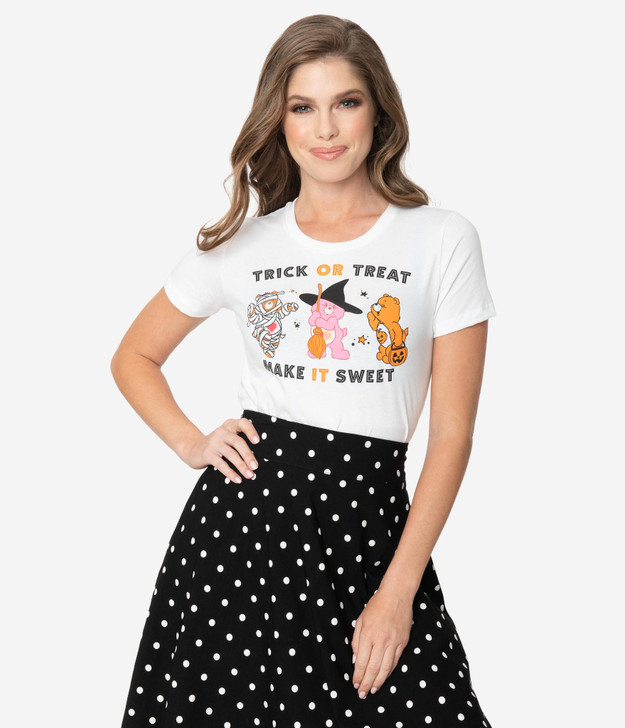 Unique Vintage Trick Or Treat Make It Sweet Women's Tee, front view 1.