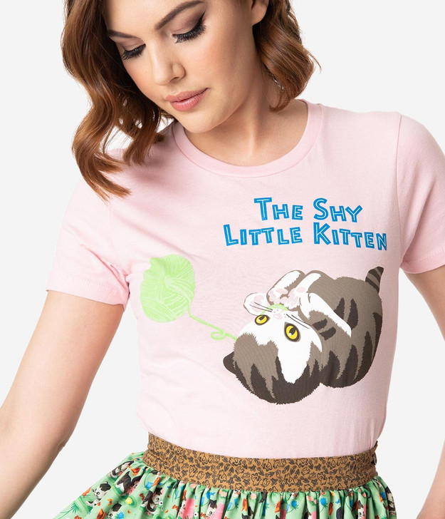 Little Golden Books x Unique Vintage The Shy Little Kitten Womens Tee, close up of graphic.