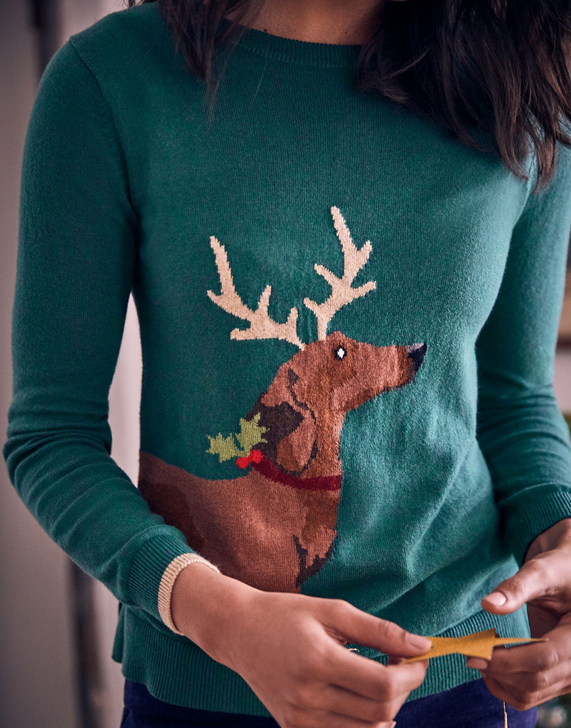 Joules Sausage Dog Festive Crew Neck Sweater, close up of front detail.