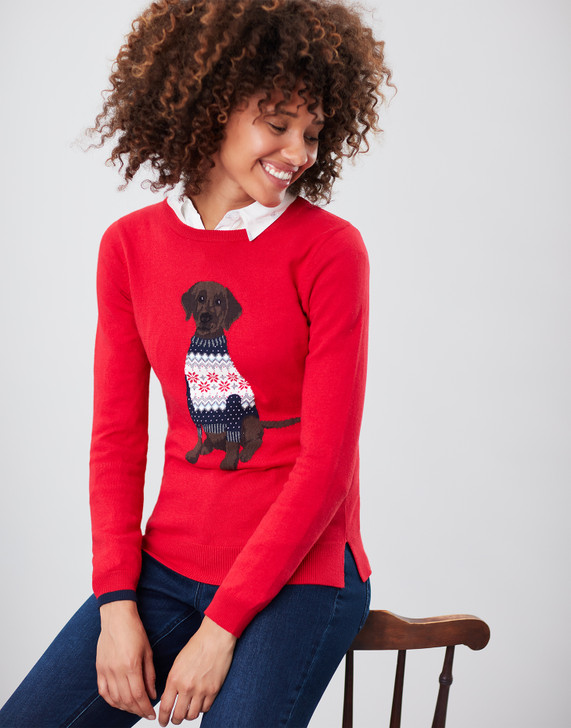 Joules Festive Labrador Sweater, front view.
