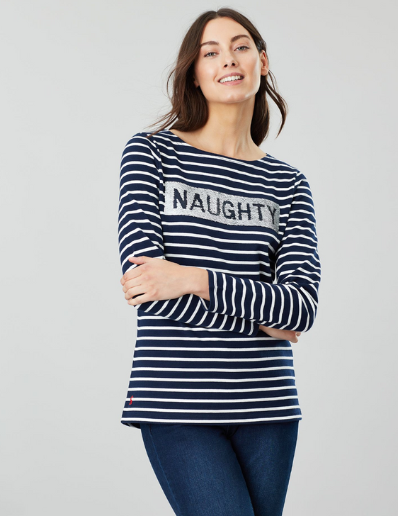 Joules Naughty/Nice Harbour Luxe Long Sleeve Jersey Top, naughty view.